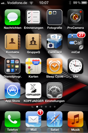 Screenshot Smartphone zur Darstellung des Mobile-Touch-Icon